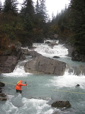 USGS hydrologist at work